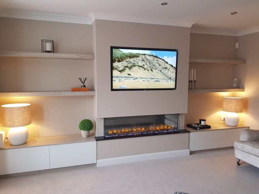 alcove units fitted with Acrylic doors in hi-gloss mixed with Oak Halifax White